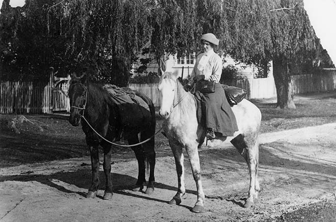 Florence Harsant and her transport, 1910s