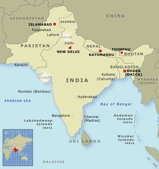 India, Pakistan and Bangladesh