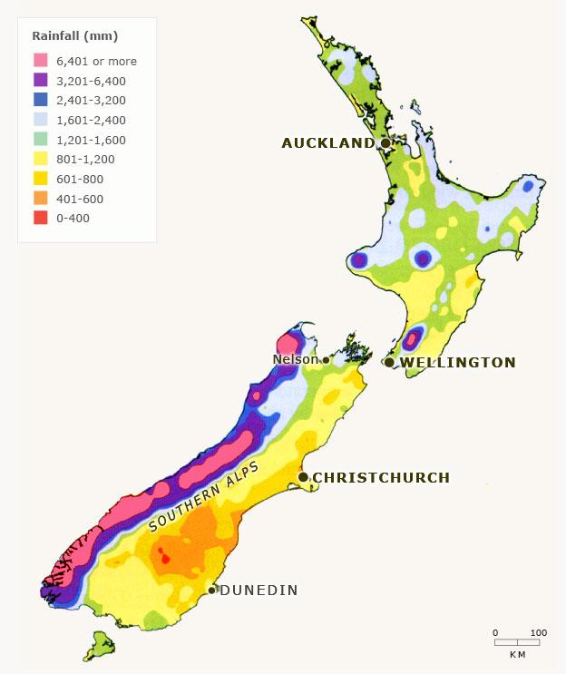 New Zealand annual rainfall