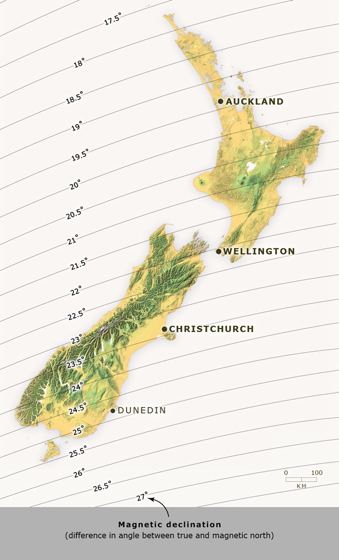 Magnetic declination in New Zealand