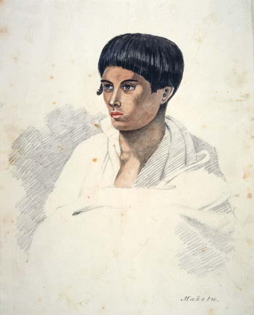 Pencil and watercolour sketch of Wiremu Kīngi Maketū