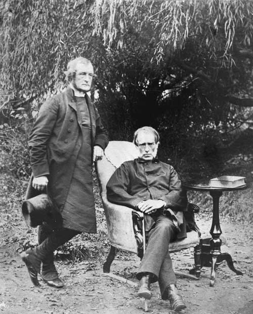 Bishop George Augustus Selwyn (left) and his close friend William Martin, the former chief justice of New Zealand, photographed in the early 1860s