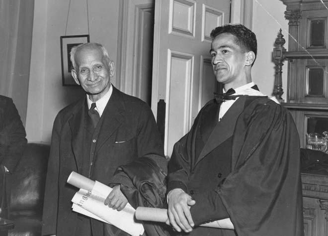 Apirana Turupa Ngata (left) and his son Henare, 1948