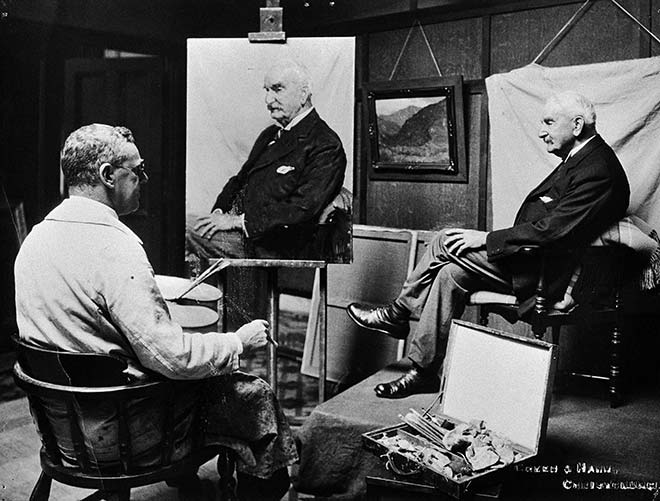 Archibald Frank Nicoll painting a portrait of Sir George Harper, 1931