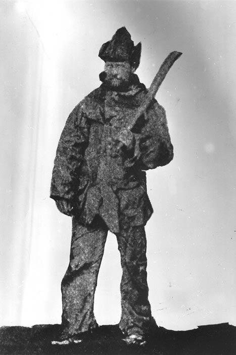 James Teer dressed in sealskin clothing