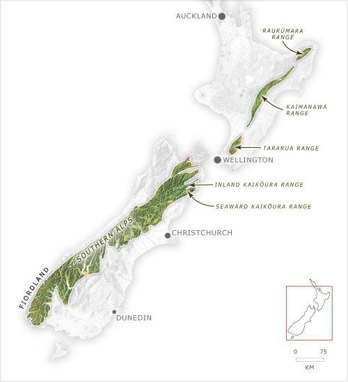 Southern Alps New Zealand Map.Mountain Ecoregion Ecoregions Te Ara Encyclopedia Of New Zealand
