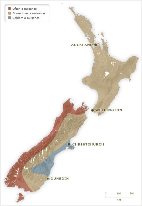 Sandfly nuisance map