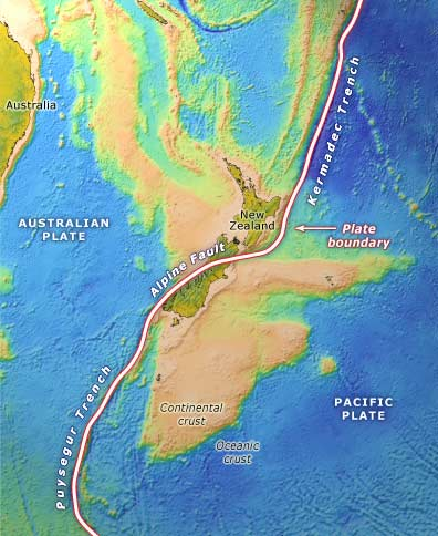 Plate boundary through New Zealand