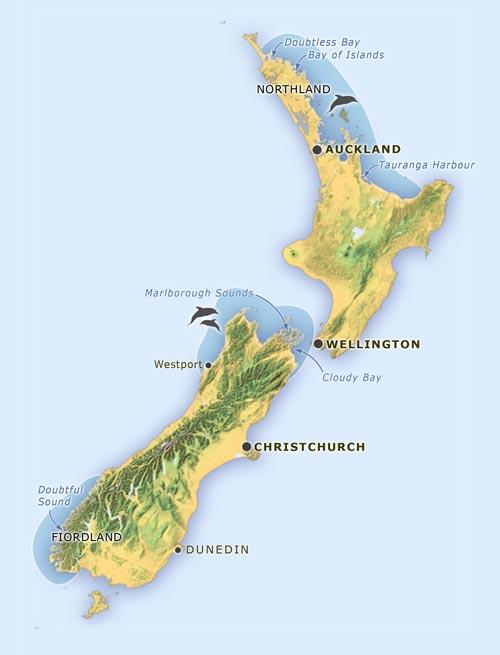 New Zealand distribution of bottlenose dolphins