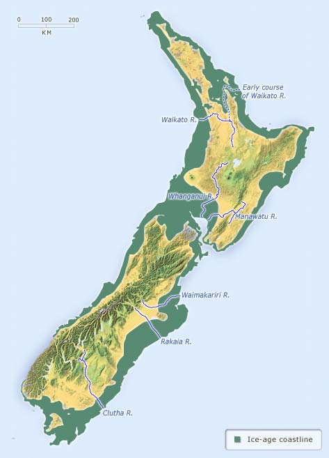 New Zealand's coastline in the ice age