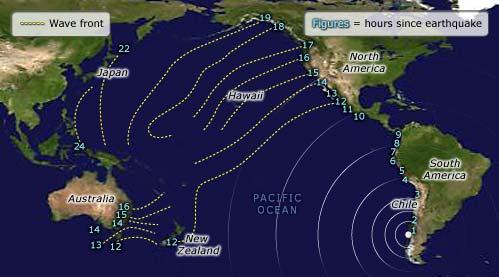 Travel times, 1960 Chilean tsunami