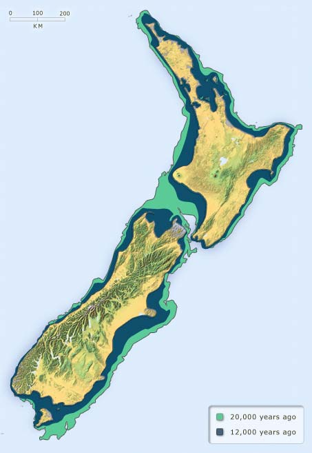 New Zealand's past land area