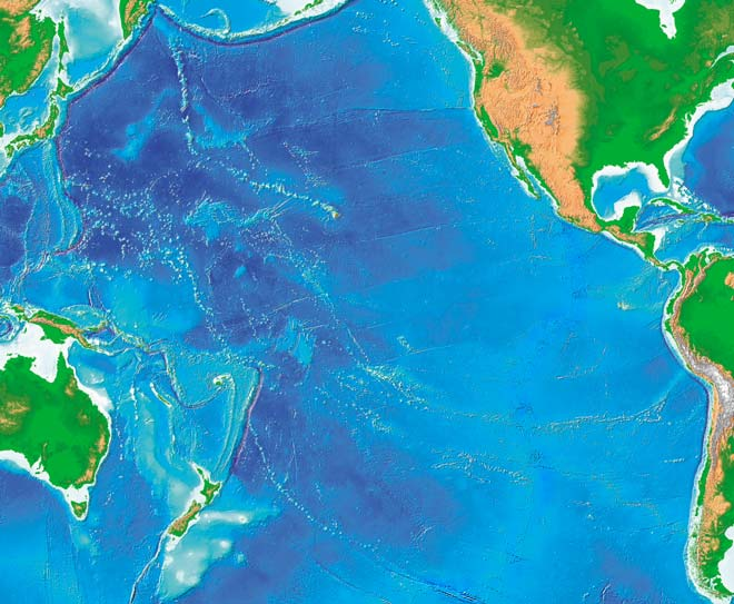 New Zealand in the Pacific Ocean