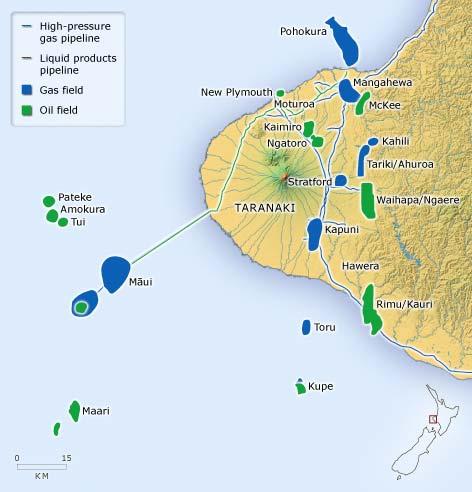 Taranaki oil and gas fields, 2006