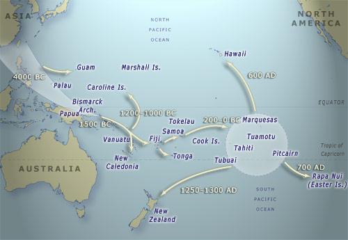 Eastern Polynesia Hawaiian DNA - Polynesian migration map oceania
