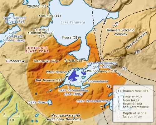 Devastation caused by the Tarawera eruption