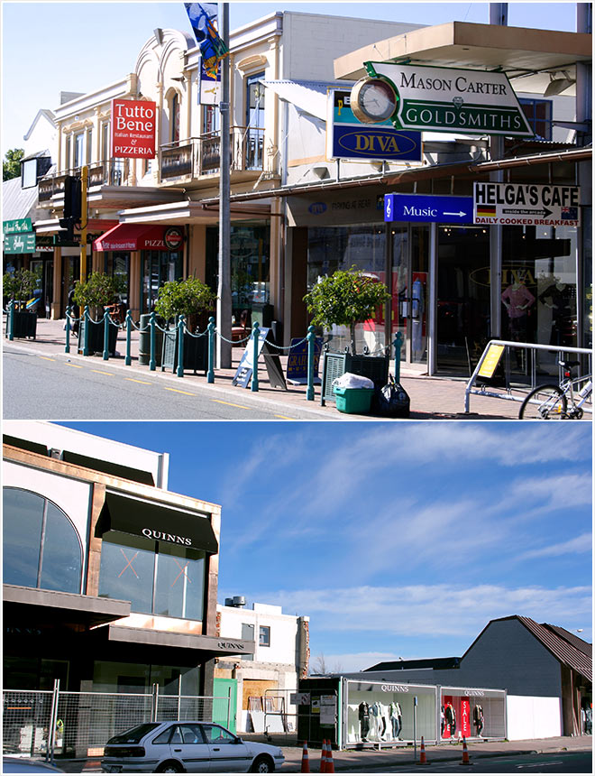 Merivale shops, 2006 and 2014