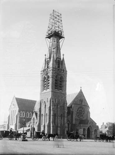 Earthquake-damaged spire