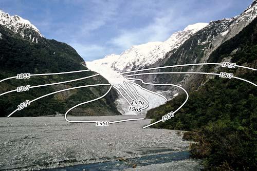 Franz Josef Glacier: advances and retreats