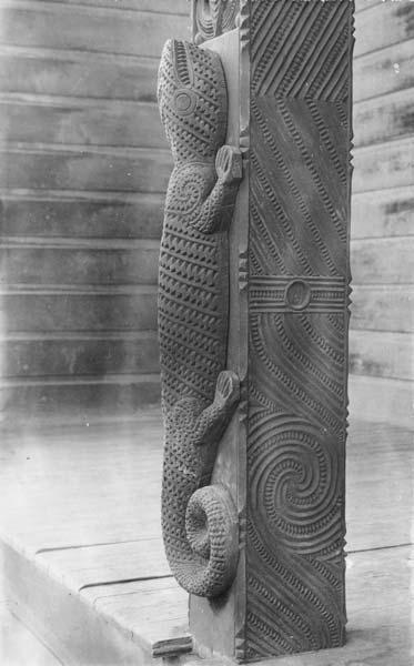 Lizard carving.