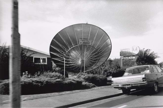 Giant satellite dish, Motel Hastings