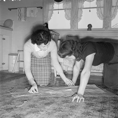 Kitchen-floor dressmaking
