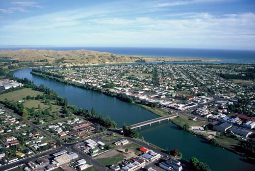 Wairoa town and river, early 2000s