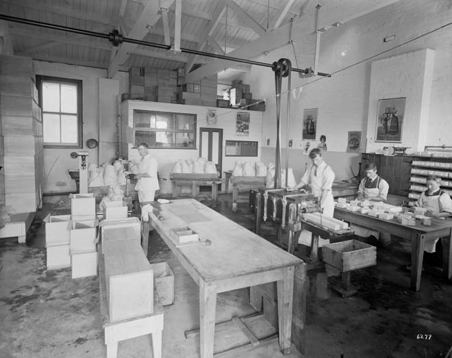 Interior of a dairy factory, early 1900s
