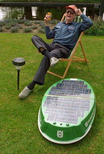 solar powered lawn mower Adding a ble to a ethernet hub you could feed in weather information so that the mower will only operate during optimal weather conditions.
