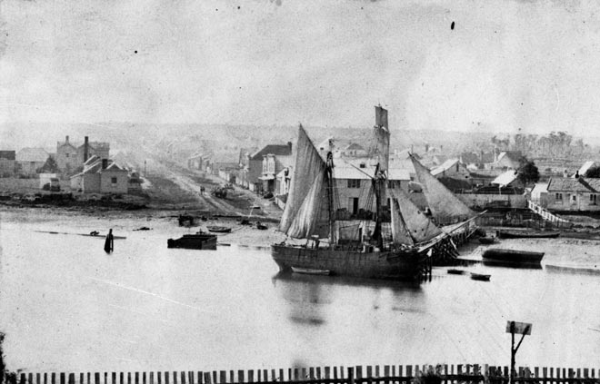 Brigantine at Riverton, about 1860