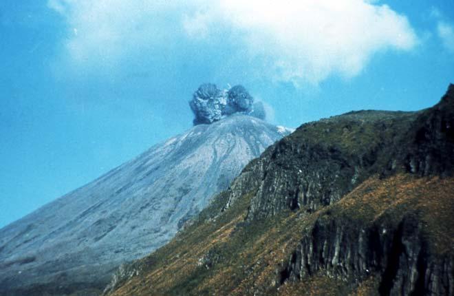 Mt Ngāuruhoe erupting, 1974