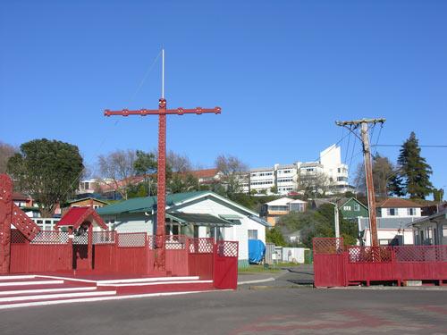 Rotorua Hospital from Ōhinemutu.