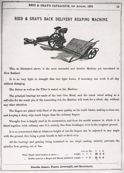 This horse-drawn reaping machine was advertised in...