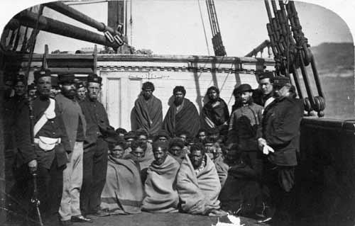 Māori prisoners under guard, 1866