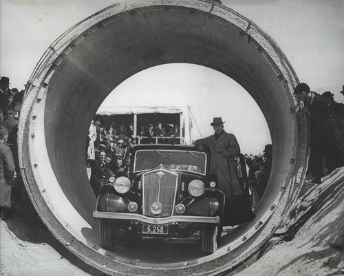 Bob Semple in an irrigation pipe