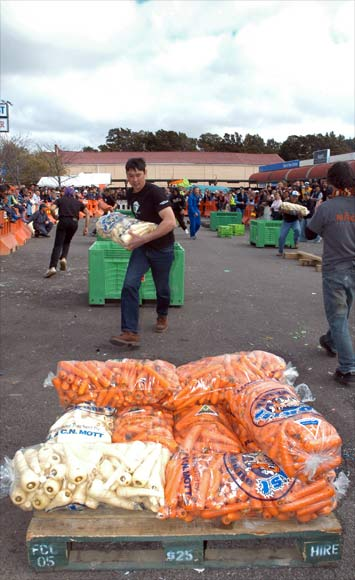 Stack-and-wrap race, Ōhakune Carrot Carnival