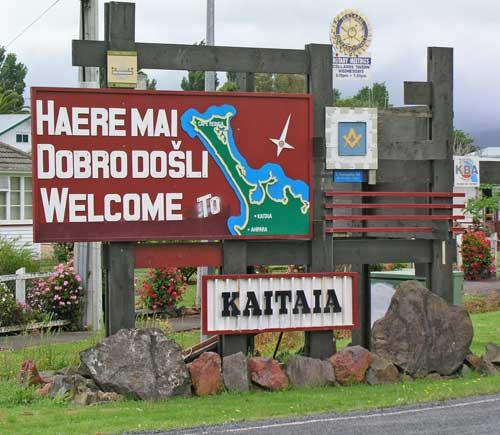 Kaitāia's tri-lingual welcome sign