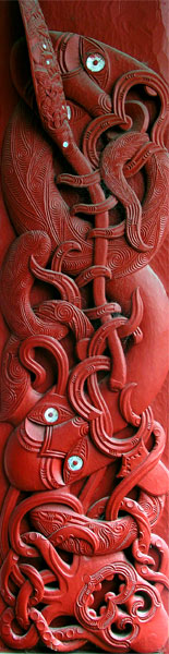 Depicting the story of Kupe and his wife Kuramārōtini, who escape the tentacles of a giant octopus to discover and settle in Aotearoa New Zealand.