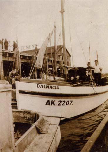 The Dalmacia, berthed outside Waitematā Fisheries, 1930s