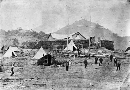 Australian servicemen at Kaitake, around 1864