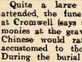 Early Chinese funeral, Cromwell