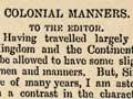 Colonial manners