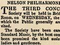 Nelson Philharmonic Society advertisement