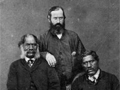 Hori Kingi Te Anaua (left), John White (centre), and Te Ua Haumene (right), 1860s
