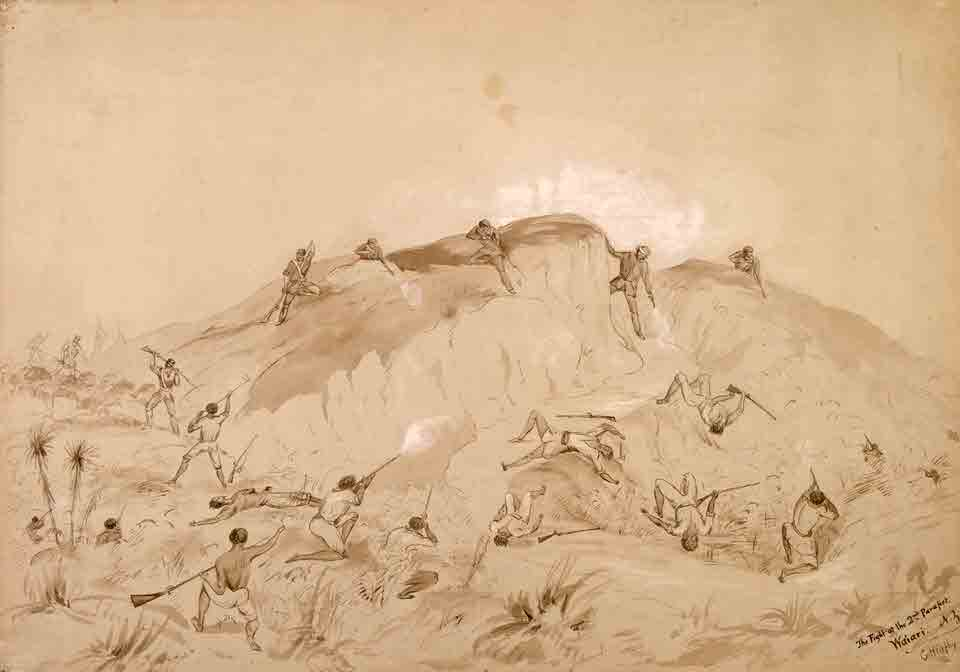 The fight at the 2nd Parapet, Waiari, 1863.