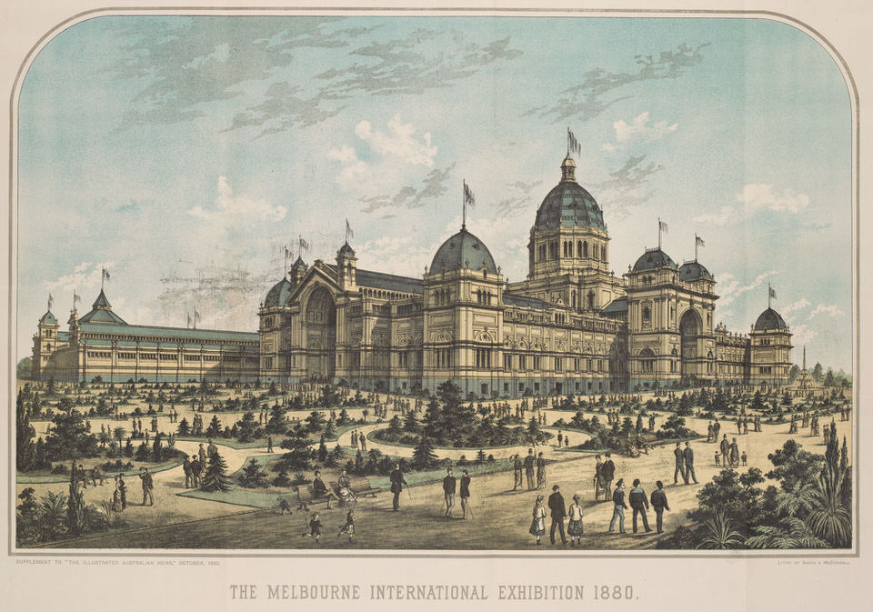 Melbourne International Exhibition at the Royal Exhibition Buildings, Australia, 1880–81. Lithograph by David Syme and Co. 1880