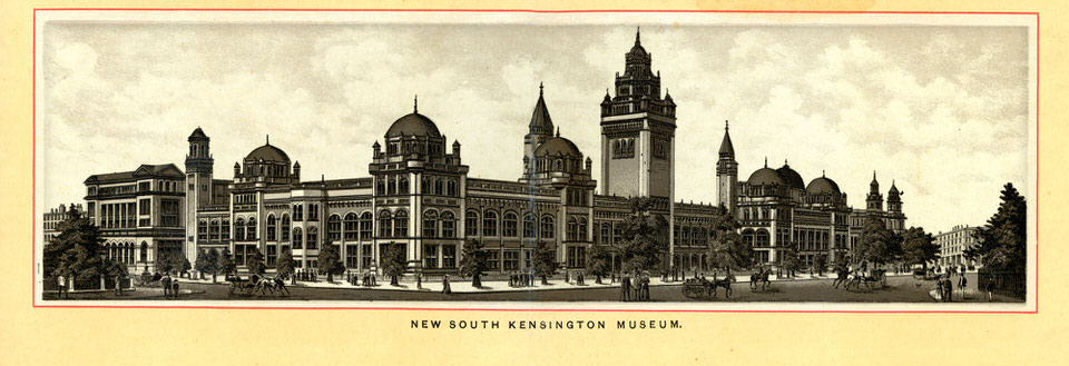 South Kensington Museum, outside of which Maatatua was displayed, London, 1881. Image by Duncan, 1890