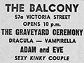 Balcony advertisement, c. 1975